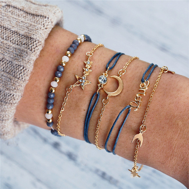 2019 nuevas pulseras de moda para mujeres creativas estrellas Luna amor pulsera cuerda y pulseras de cadena de oro 6 piezas conjunto regalos