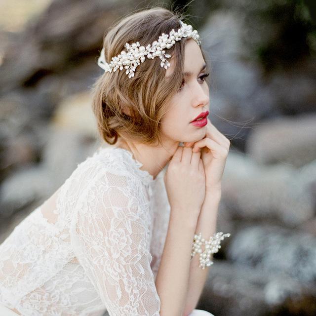 Boho Branco Pérolas Cabelo Barato Acessórios Do Casamento Chapéu De Noiva Mão Trançado Fio de Imagem Real Frete Grátis Em Estoque Nupcial Headpiece