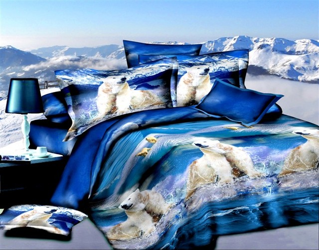Blue The Ice Age Animal Print Bedding Sets For Queen Size Bedspread Duvet Cover Designer Bed