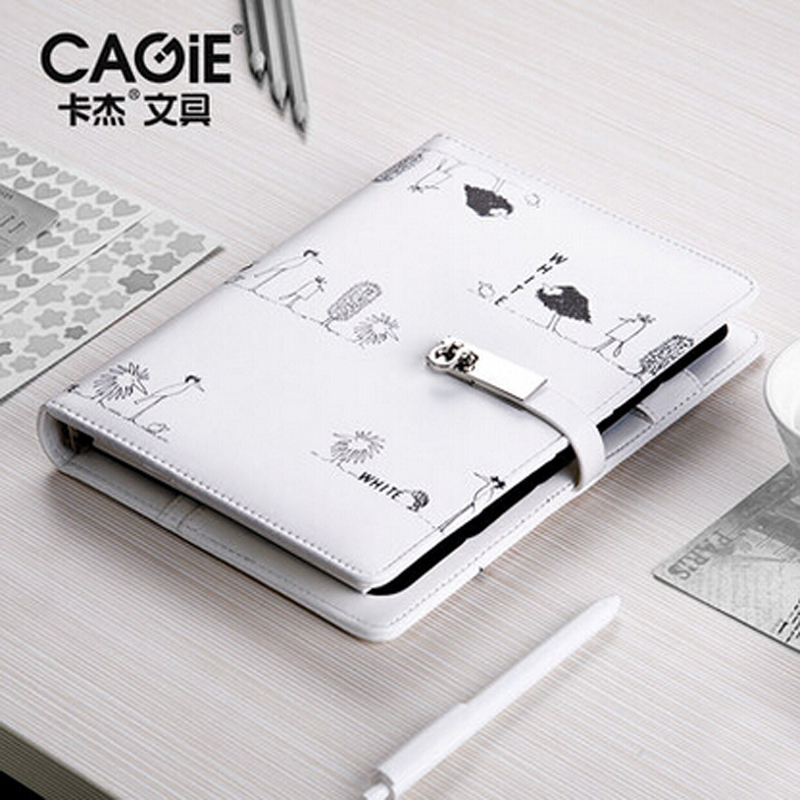 CAGIE Spiral  Notebook Planner Agenda Leather Cute Cover .A5/A6. Hasp Personal Diary  Ring Travel Journal For Gift (Black/White) cagie 2017 black white vintage notebooks a5 a6 planner organizer agenda travelers diary journal office spiral notebook