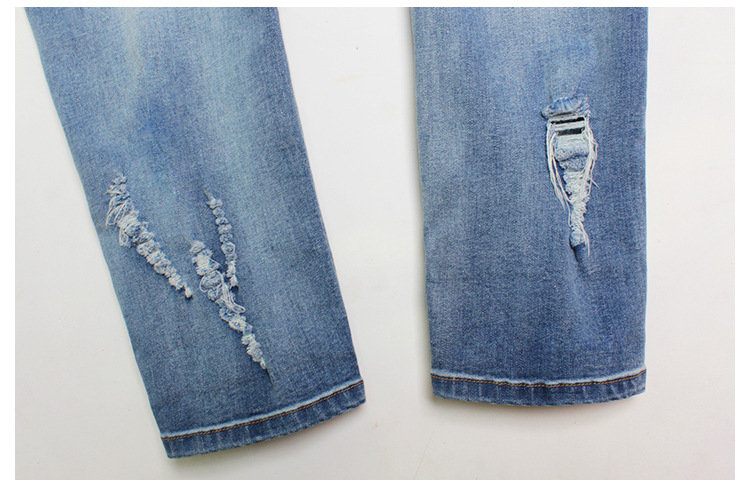 2017 Europe and the United States new women stretch loose jeans women trousers color flowers 3D stereo embroidery holes jeans (19)