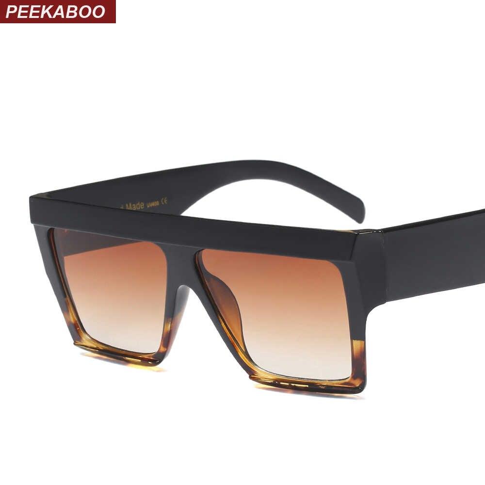 438075f859 Gafas de sol cuadradas de gran tamaño Peekaboo marco grueso 2019 negro  leopardo azul Rosa transparentes
