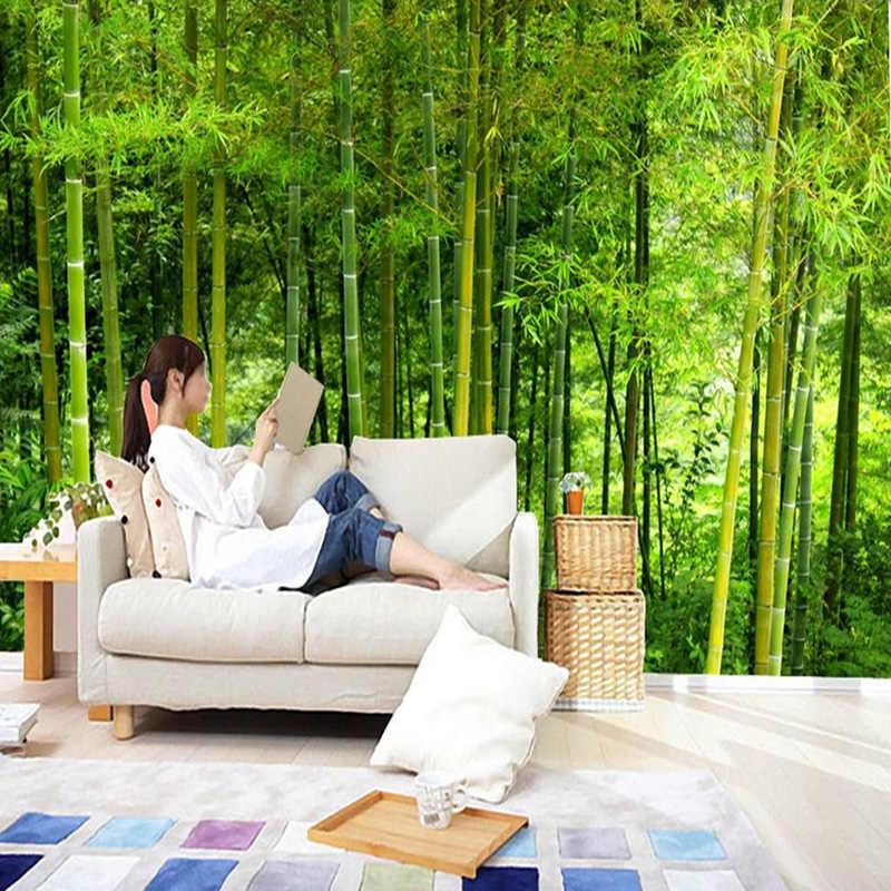 Lo último en Papel De pared De bambú De alta calidad para sala De estar, sofá, telón De fondo, Mural De pared 3D, paisaje natural, decoración del hogar, Papel De pared 3D