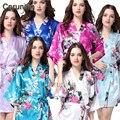 RB008 2015 Estilo Corto Mujer Túnicas Kimono de Seda del Pavo Real Impreso, Del Banquete de boda de dama de Honor Robe