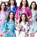 RB008  2015 Short Style Woman Peacock Printed Silk Kimono Robes ,Wedding Party Bridesmaid Robe