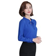 Women Blouse Long Sleeve Stand Collar Bow Blouses Elegant Ladies Chiffon Tops Fashion Office Work Wear S-2XL