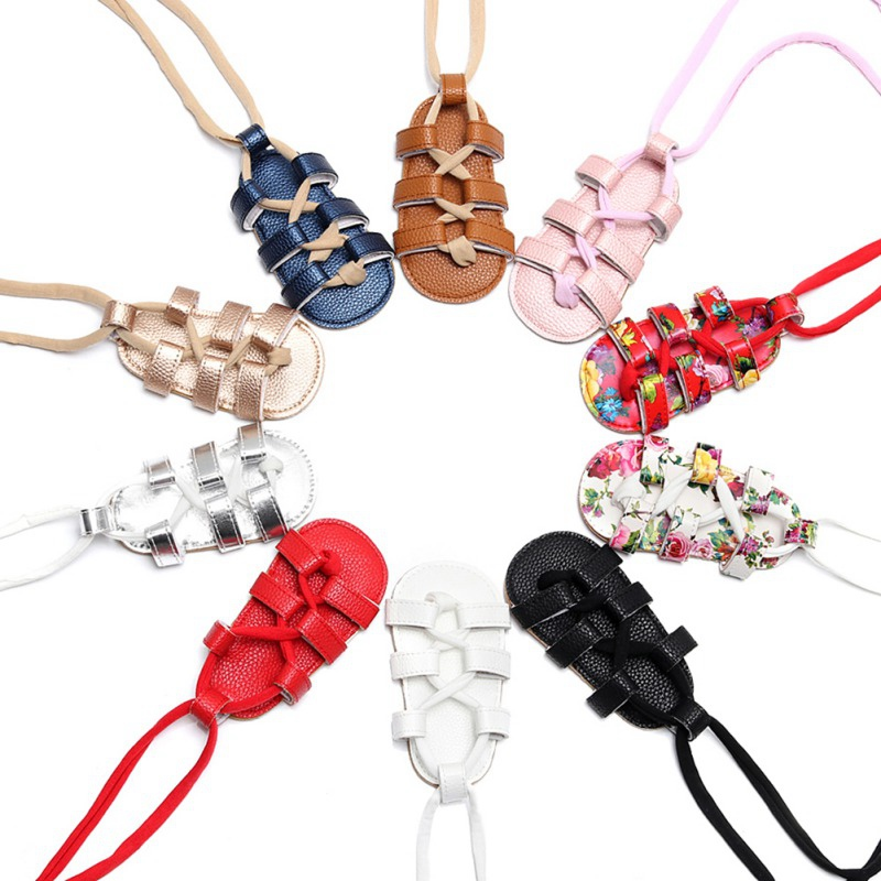 PU Leather Infant Kids Flat Heels Lace-up Sandals Summer Baby Girl Sandals Girls Rome Sandals Baby High Gladiator Sandals 0-2T