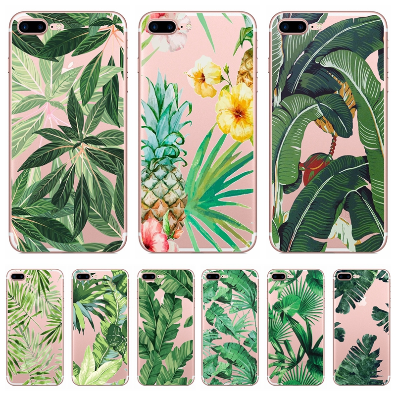 Ultra-Thin Transparent Cases for iPhone 5S 5 SE Case on for iPhone X 8 6 6S 7 Plus Soft TPU Silicon Green Leaf Plant Phone Cover