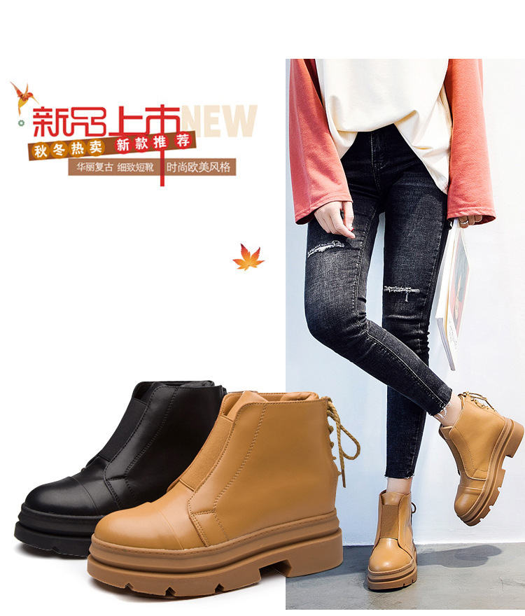 2018 New Fashion Thick Heel Female Shoes Round Toe Genuine Leather Ankle Boots For Women Spring Autumn platform Boots