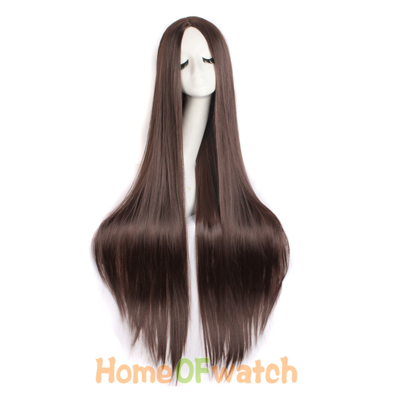 Image 4 - MapofBeauty 100cm Long Straight Hair100cm Cosplay Wig Black White Brown 4 Color Heat Resistant Synthetic Wigs Women Ladies Party-in Synthetic None-Lace  Wigs from Hair Extensions & Wigs