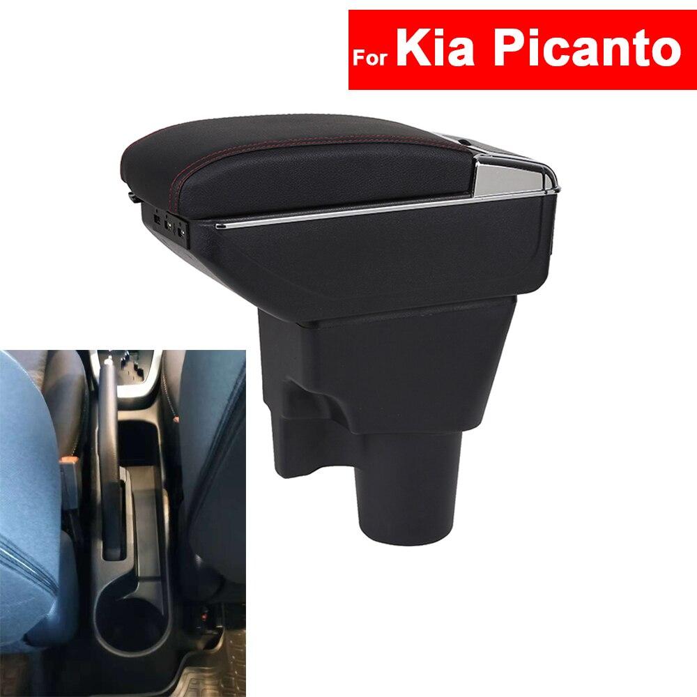 Pour Kia Picanto Accoudoir De Voiture Center Centre Console De Stockage Central Boîte Accoudoir Accoudoir Rotatif Auto Accoudoirs avec USB