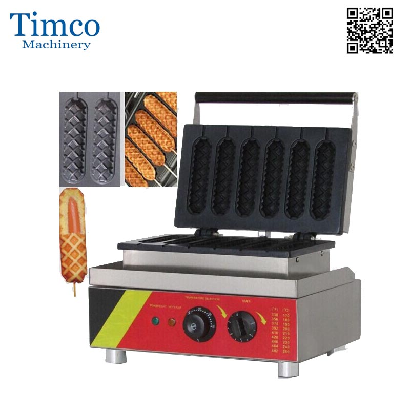 Commercial Use Nonstick Waffle Maker Electric Lolly Waffle Dog on A Stick Maker Machine Baker & Stainless Steel Holder Stand