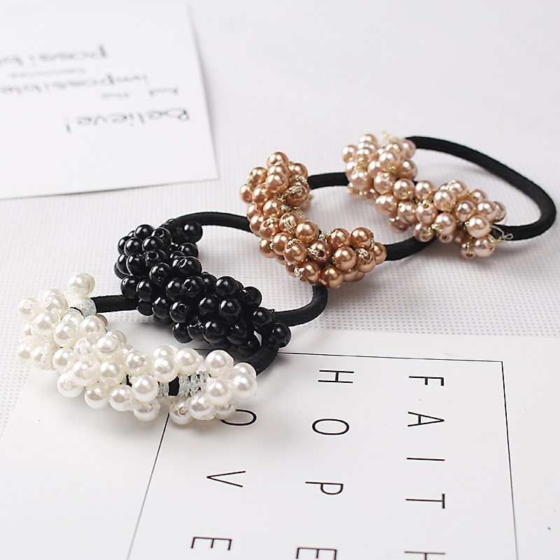 M MISM 1PC Fashion Korean Style Semi-circle Pearls Beads Hair Rope Girls Hair Accessories Scrunchy Ponytail Hair Band Elastics m mism 2pcs new rhinestone bead hair elastic band hair accessories rubber tie gum ponytail holder scrunchy for women girls