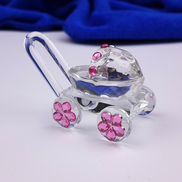30PCS/LOT Mini Crystal Baby Carriage Baby Shower Favors Wedding Party Figurines Souvenirs