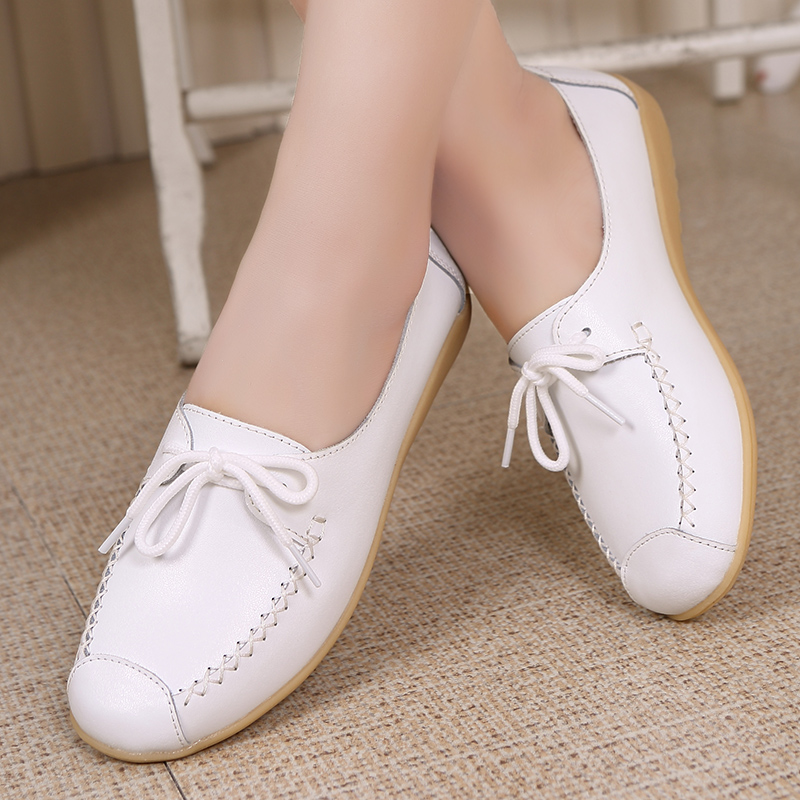 New Lace Mother Flat Shoes Spring Autumn Fashion Shallow Mouth Ladies Peas Shoes Tendon Casual Women Leather Shoes 35-40