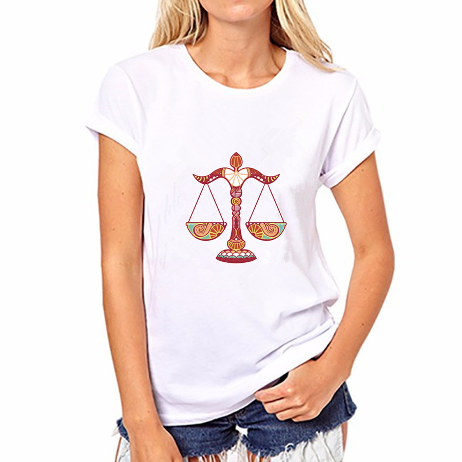 2016 Summer Autumn Women Balance Scale Print Short Sleeve Women O neck Blouses Cotton Shirts Blusas FS50-WB-YH86
