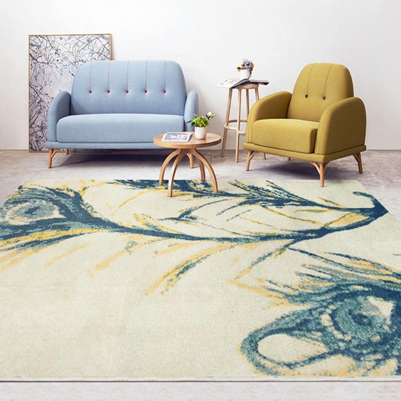 Peacock feather painting living room carpet ,decoration bedside carpet easy care,retro style big size office carpetPeacock feather painting living room carpet ,decoration bedside carpet easy care,retro style big size office carpet