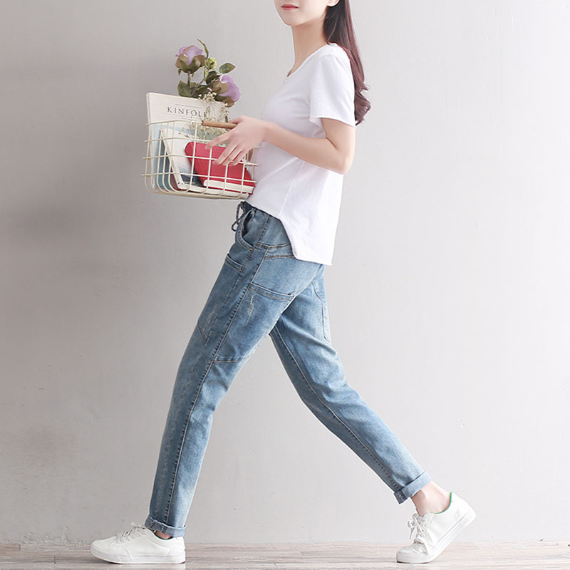 5120493e3e943 THHONE Quality Jeans Women Harem Pants Elastic Waist Stretch Trousers Long  Plus Size Fashion Washed Denim Jeans Pants Women -in Jeans from Women s  Clothing ...