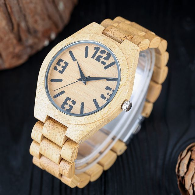 Nature Wood Watch Mens Simple Fold Clasp Wrist Watch Gift Trendy Bamboo Modern Casual Analog Cool
