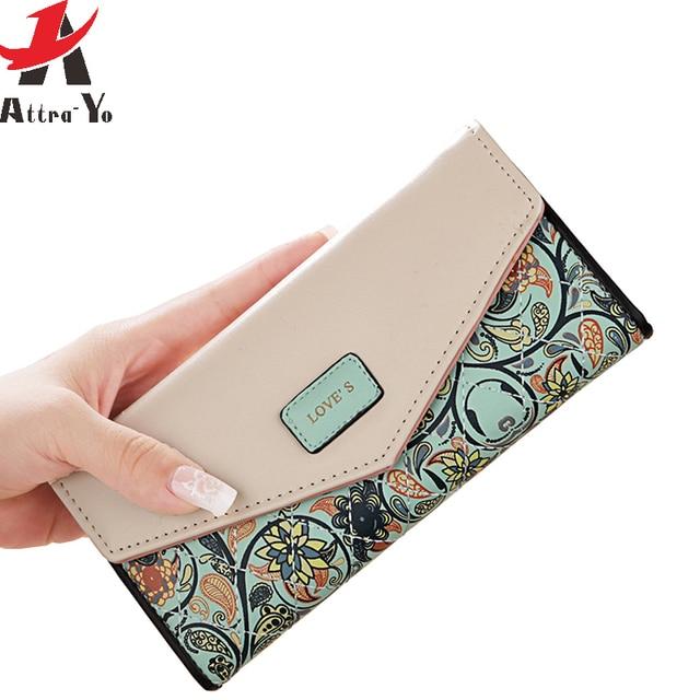 attra yo women wallets famous brands long printing purses wallet