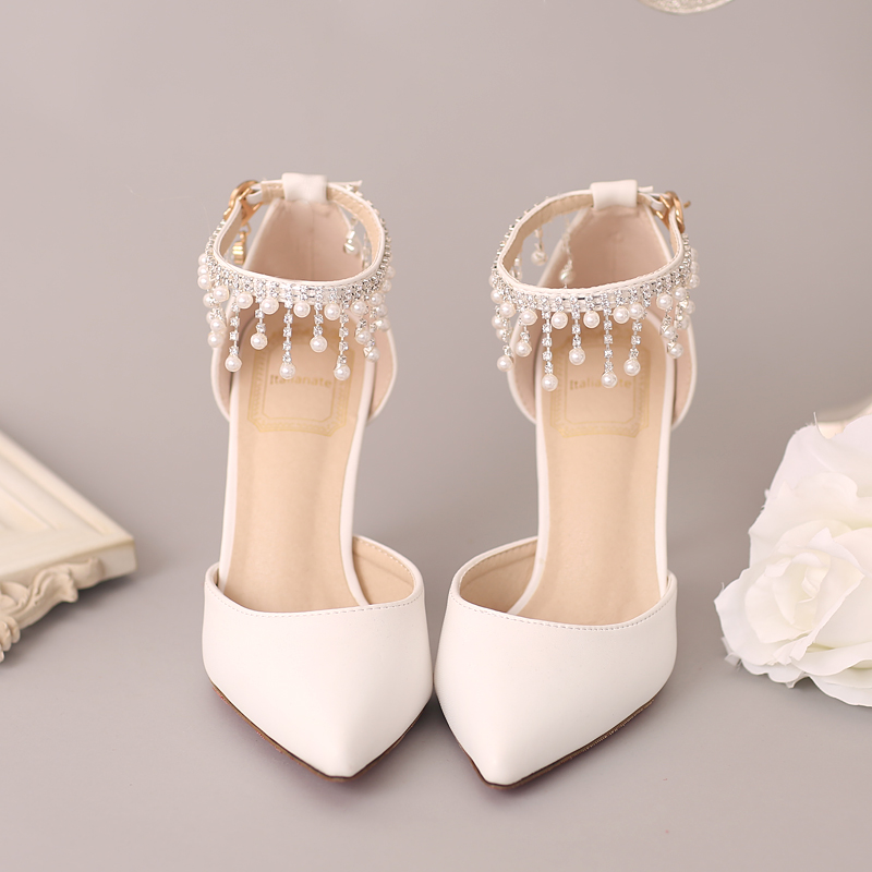 New white pearl diamond, bridal shoes, red pointed, high heels, wedding shoes, one word wristband, fine heel sandals aidocrystal luxurious handmade pearl crystal diamond wedding shoes white bridal low heel dress high heels