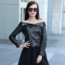 2017 Women New shoulder Genuine sheep leather jacket motorcycle jacket autumn winter outerwear coats zipper basic jackets