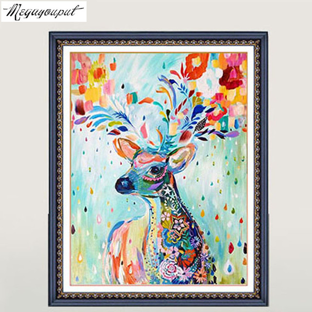 Coloured drawing deer picture 5D diamond painting cross stitch wall ...