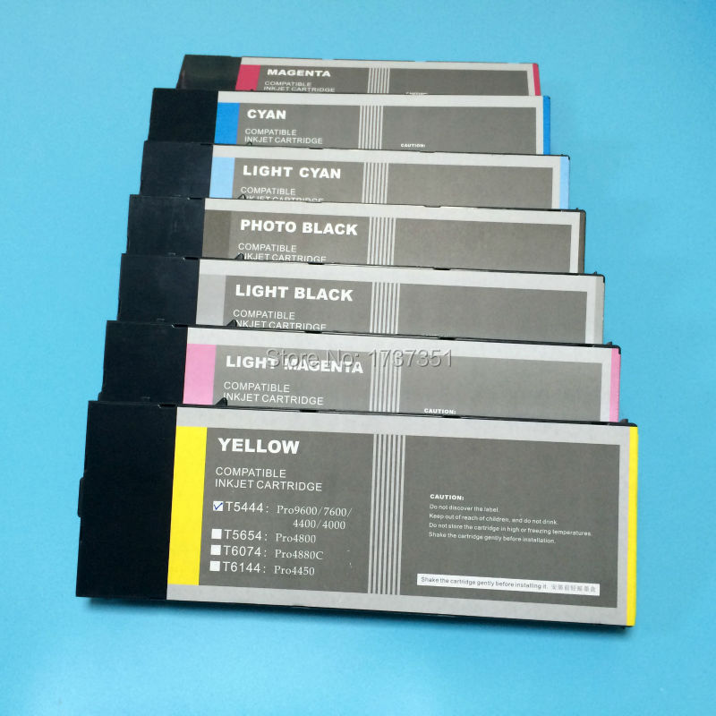 t544 t5441 - t5447 7 color 220ml empty compatible ink cartridge with disposable chip for Epson Stylus Pro 7600 9600 printer