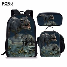 FORUDESIGNS 3pcs/set Dinosaur World Backpack Dragon Casual School Bags Sets Boys Girls Teenager Mochila Bolsa