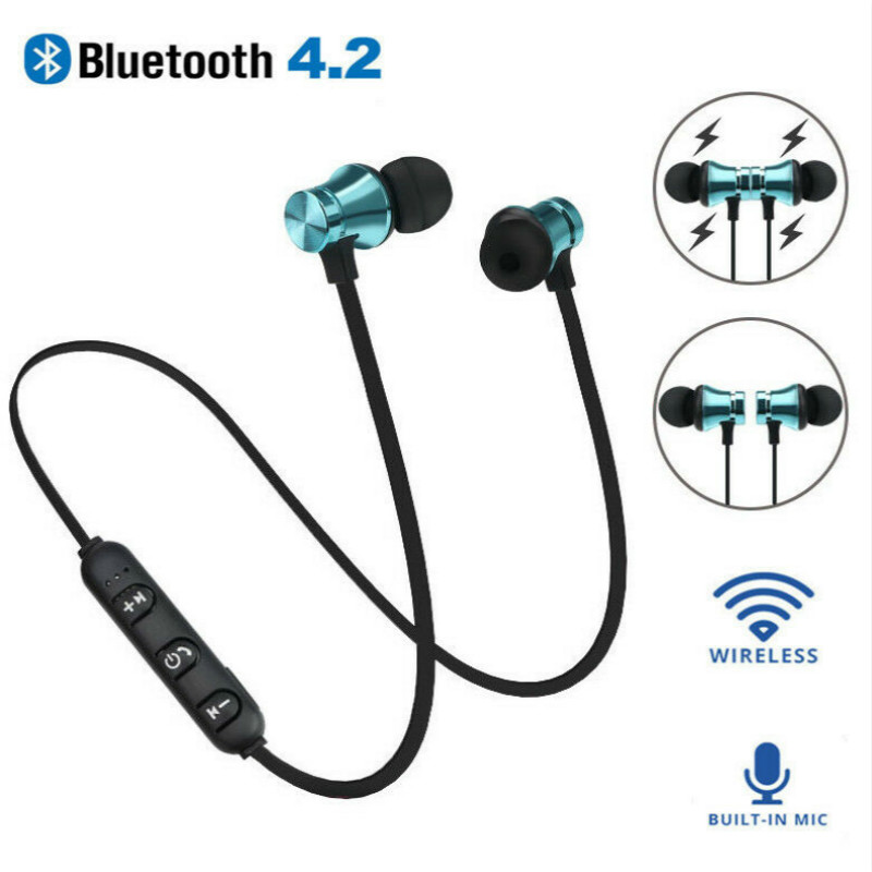 Magnetic Wireless earphone Bluetooth headphone Stereo Sports Waterproof Earbuds Wireless in-ear Headset with Mic For IPhone magnetic attraction bluetooth earphone headset waterproof sports 4.2