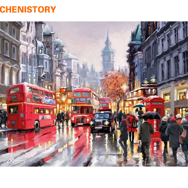 Chenistory parigi romantica strada diy pittura by numbers moderna di arte della parete della tela di canapa dipinta a mano olio painitng per home decor 40x50 centimetri
