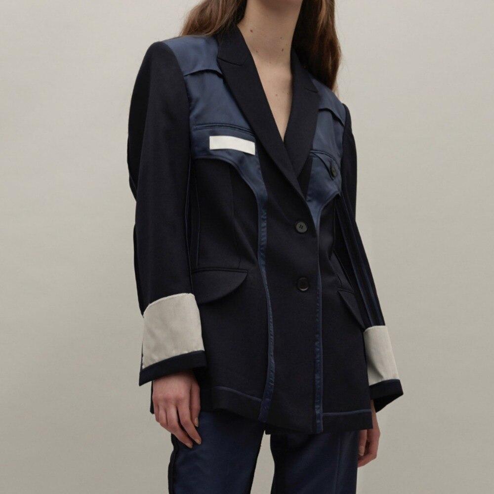 Cakucool new streetwear 하이 엔드 디자이너 bf 긴 소매 자켓 코트 캐주얼 싱글 브레스트 슈트 자켓 femme autumn-에서베이식 쟈켓부터 여성 의류 의  그룹 1