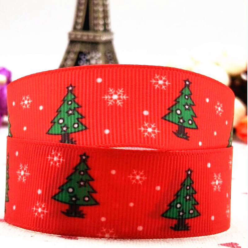 free delivery of 25mm christmas tree grosgrain ribbon hair accessories 10 yard hair bow diy bow clothing accessories in ribbons from home garden on