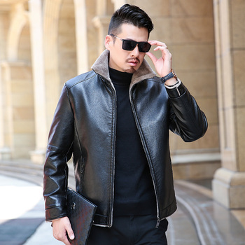 high quality Winter real Leisure Casual Leather Jacket for Men Fashion Brand Brown Sheepskin Jackets and Coats with Wool Lining