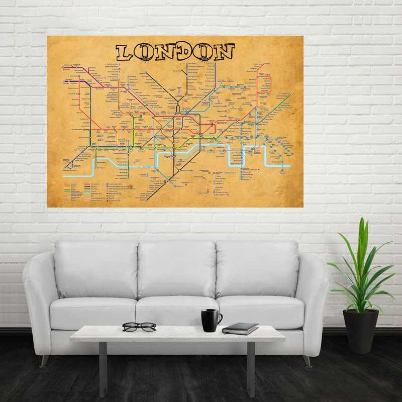 Subway Map Wall Art Wall Art Stickers Wall Decal Huge Underground Tube Map.London Underground Vintage Looking Map Art Canvas Poster Home Decor Dropshipping