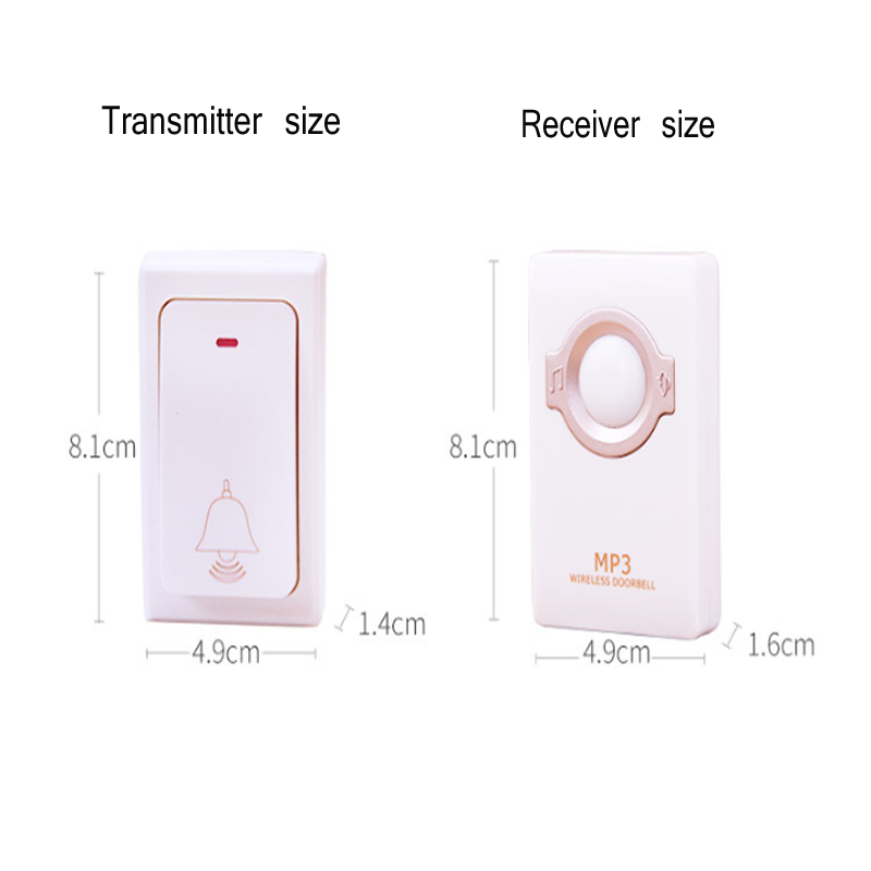 US New MP3 Smart Wireless Home Doorbell Old Caller Deaf Person Prompt Electronic Doorbell