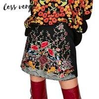 LESSVERGE Fashion Embroidery Denim Skirt Bottom 2017 Autumn Casual Zipper Pencil Skirt Elegant Black High Waist