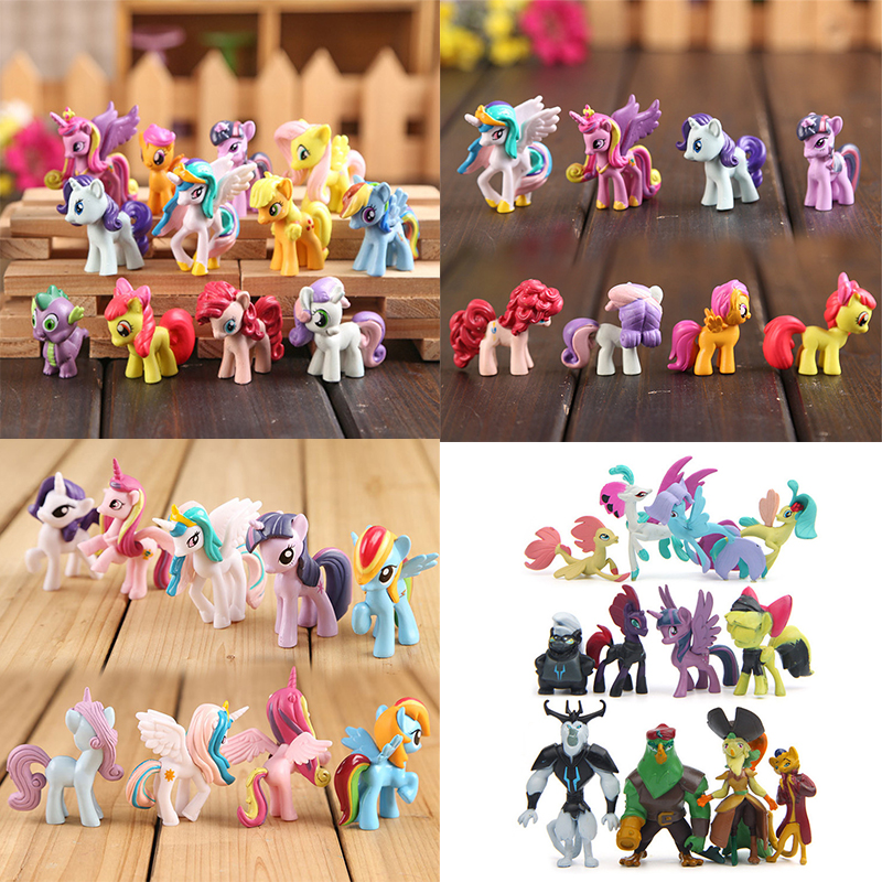 12Pcs/lot My Cute Little PVC Lovely Horse Birthday Party Tool Action Toy Figurine Dolls for Girl Christmas Gift my christmas cd