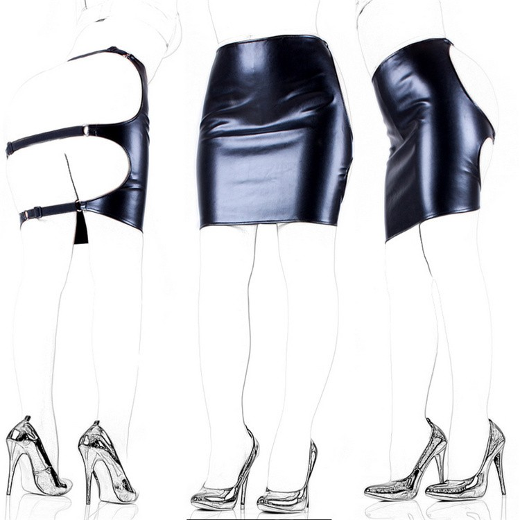 Black PU Leather Fetish Bondage Restraints Butt Exposed Package Skirt Sexy Costume Adult Games Cosplay Bdsm Sex Toys For Women
