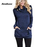 RENBANG Spring Women Hoodies Female Warm Hooded Sweatshirt Long Sleeve Pockets Casual Loose Pullovers Tops 2018