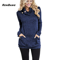 RENBANG Spring Women Hoodies Female Warm Hooded Sweatshirt Long Sleeve Pockets Casual Loose Pullovers Tops 2018