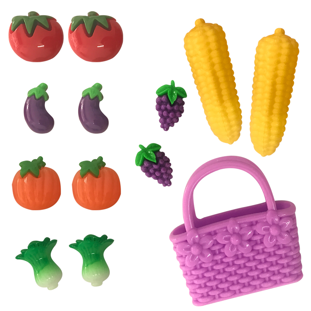 NK 13 Pcs/Set Doll Accessories Miniature Pretend Toy Mini Play Food Fruit And Vegetable Bags For Barbie Dolls DIY Accessories DZ