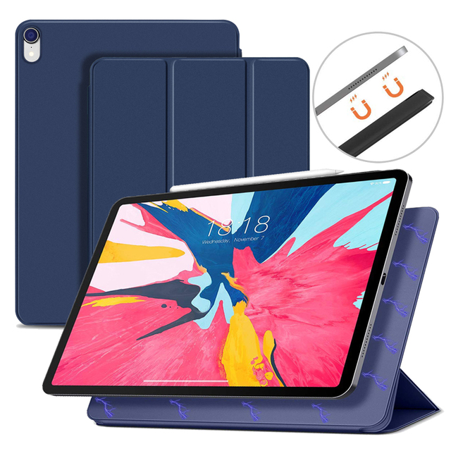 half off 61142 cbc39 US $16.85 |Folio Case For iPad Pro 11 2018 Magnetic Ultra Slim Smart Cover  for iPad Pro 11 inch Case 2018 Funda Support Attach Charge-in Tablets & ...