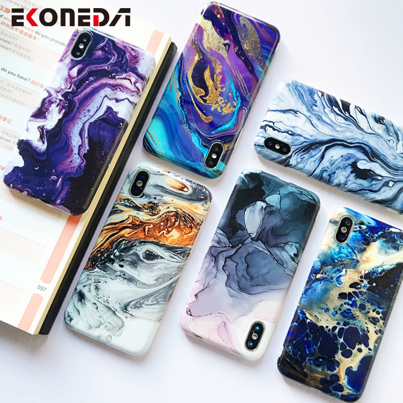 Image 2 - EKONEDA Soft IMD Case For iPhone X Case Marble Phone Cases For iPhone 7 Case Silicone Cover For iPhone 6S 7 8 Plus XS Max XR-in Fitted Cases from Cellphones & Telecommunications