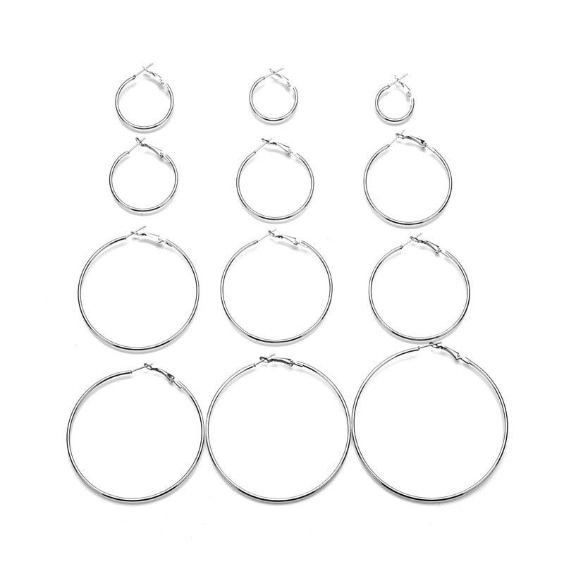 earrings for women 12Pairs set Vintage Silver Gold Big Circle Women Steampunk Dangle Earring Metal Jewelry in Drop Earrings from Jewelry Accessories