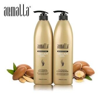Armalla Professional 1000 мл марокканское аргановое масло шампунь для волос + 1000 мл Прозрачный увлажняющий Кондиционер глубокое лечение