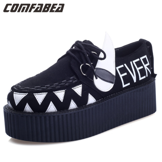 Womens Lace UP High platform creepers Flat Goth Punk HARAJUKU women rivets Black Little Monster Shoes Woman casual  creeper