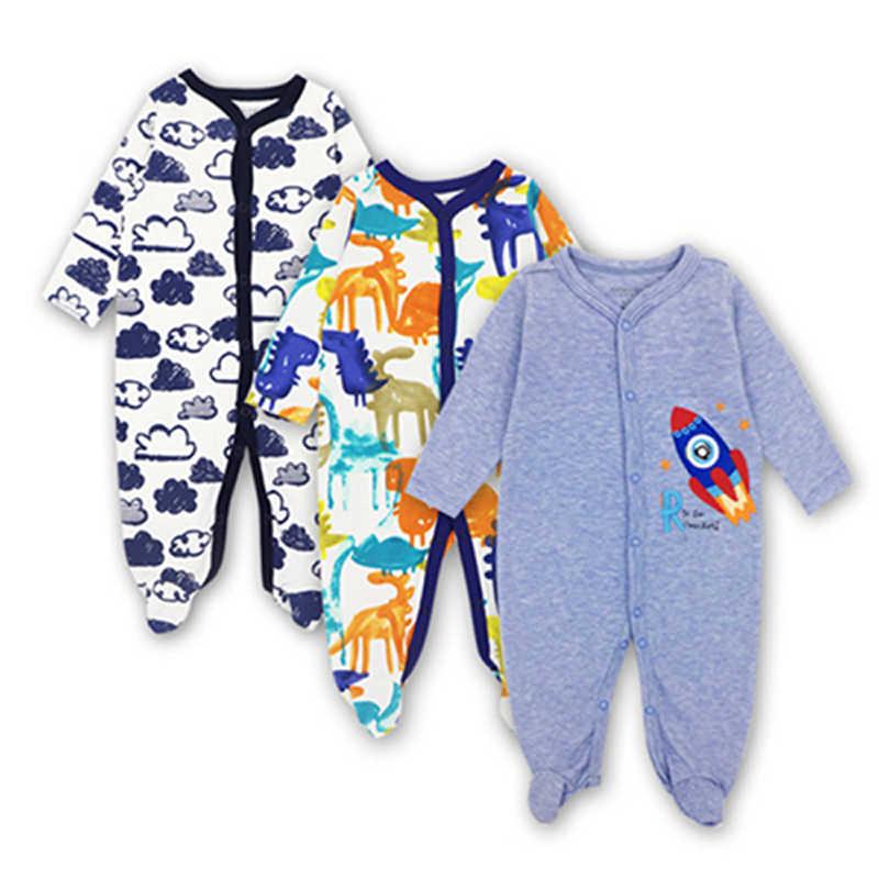 Recién nacido Niño bebé recién nacido bebé niña niño mono de algodón de manga larga 3 piezas 0-12 meses dibujos animados impresos ropa