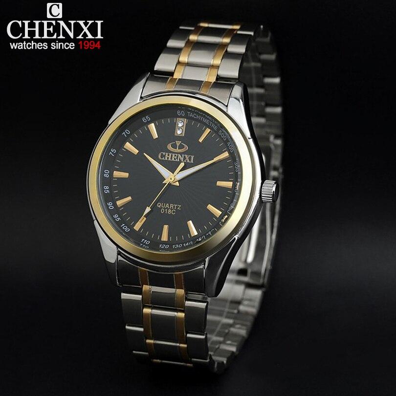 New arrival ChenXI Brand Fashion Gold Strap Men's Women Business Quartz Watches Dress Stainless Full Steel sport wristwatch