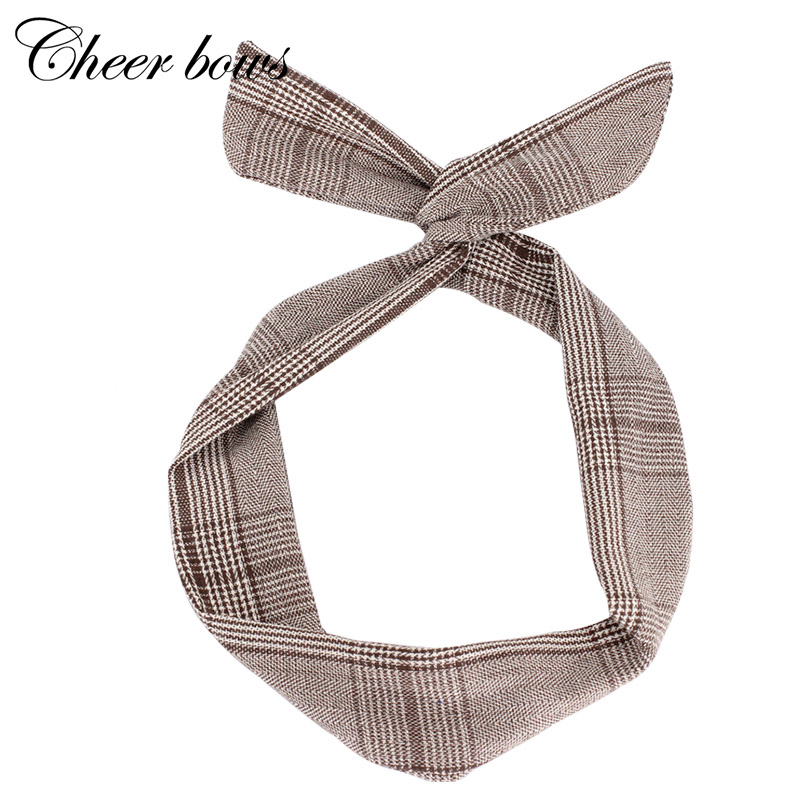rabbit ear print plaid headband for women girls metal wire hair band